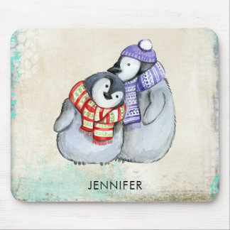 Cute Penguins in Winter Scarves and Hats Custom Mouse Pad