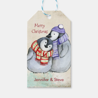 Cute Penguins in Winter Scarves and Hats Gift Tags