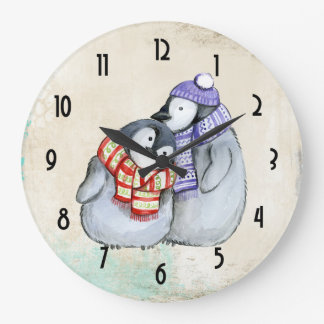 Cute Penguins in Winter Scarves and Hats Large Clock