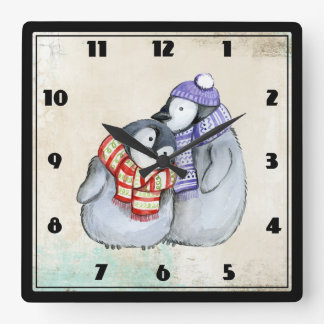 Cute Penguins in Winter Scarves and Hats Square Wall Clock