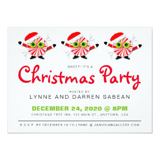 Cute Peppermint Candy Christmas Party Invitation