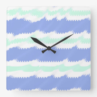 Cute periwinkle and green stripes and wave clock