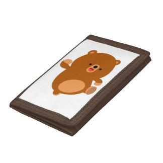 Cute Perky Cartoon Bear Tri-fold Wallet