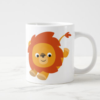 Cute Perky Cartoon Lion Large Coffee Mug
