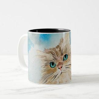 Cute Persian Cat Watercolor Art Two-Tone Coffee Mug