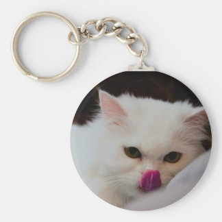 Cute Persian White Cat with Tongue Key Ring