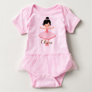 Cute Personalised Asian Ballerina Baby Bodysuit