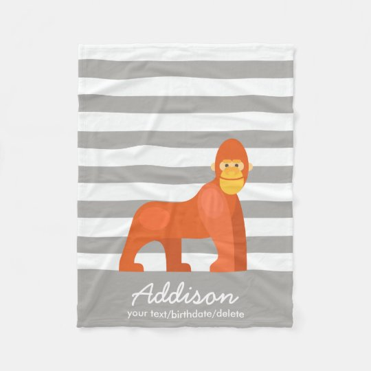 Cute Personalised Baby Gorilla Jungle Grey Stripe Fleece Blanket