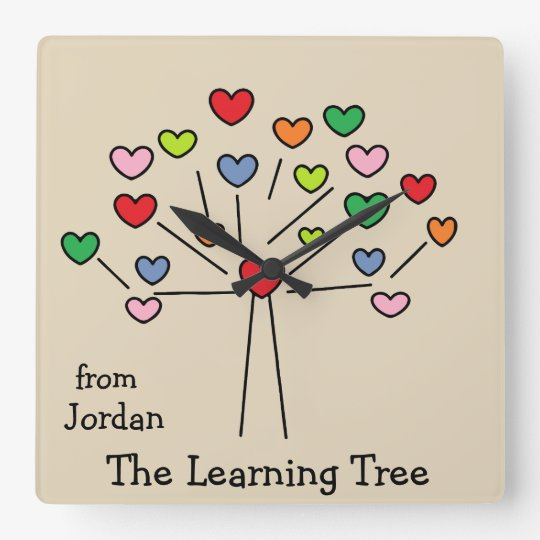 Cute Personalised Colourful Hearts Tree Wall Clock