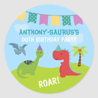 Cute Personalised Dinosaur themed Party Classic Round Sticker