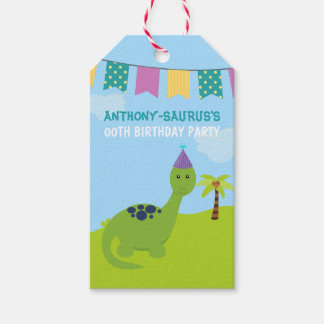 Cute Personalised Dinosaur themed Party Gift Tags