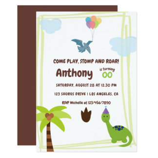 Cute Personalised Dinosaur themed Party Invitation