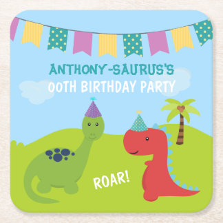 Cute Personalised Dinosaur themed Party Square Paper Coaster