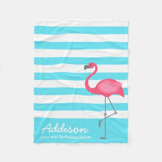 Cute Personalised Flamingo Tropical Blue Stripe Fleece Blanket