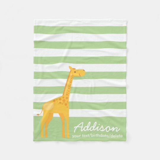 Cute Personalised Giraffe Jungle Mint Green Stripe Fleece Blanket