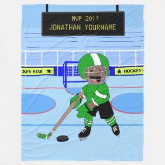 Cute Personalised Ice Hockey star Fleece Blanket