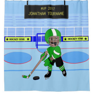 Cute Personalised Ice Hockey star Shower Curtain