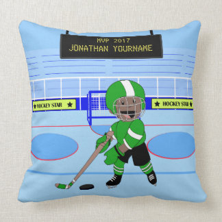 Cute Personalised Ice Hockey star Throw Pillow