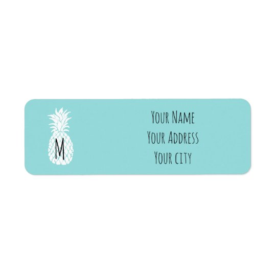 cute personalised monogram pineapple return address label