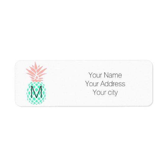 cute personalised monogram teal pink pineapple return address label