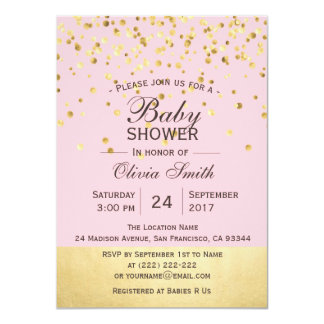 Cute Personalised Pink Gold Baby Shower Invites