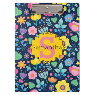 Cute Personalised Pink Yellow Blue Green Floral Clipboard
