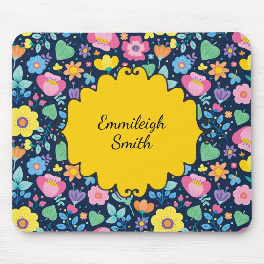 Cute Personalised Pink Yellow Blue Purple Floral Mouse Pad