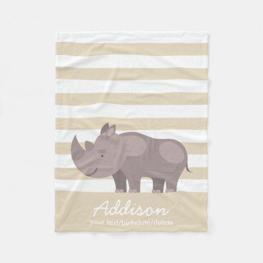 Cute Personalised Rhinoceros Jungle Tan Stripe Fleece Blanket