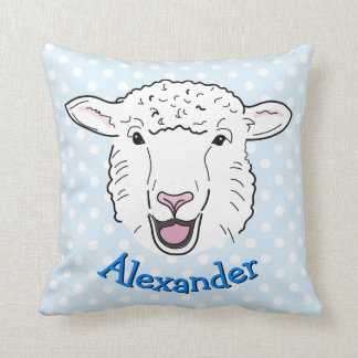 Cute Personalised Smiling Sheep Face Illustration Cushion