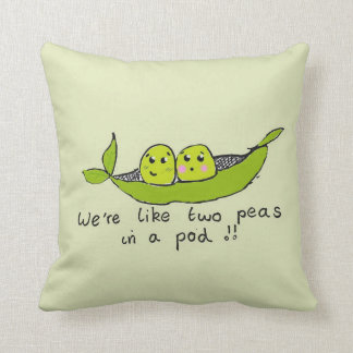 Cute personalised two peas in a pod cushion