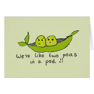 Cute personalised two peas in a pod greeting card