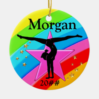 CUTE PERSONALIZED AND DATED GYMNAST ORNAMENT