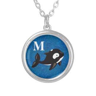 Cute Personalized Black White Orca on Blue Glitter Silver Plated Necklace