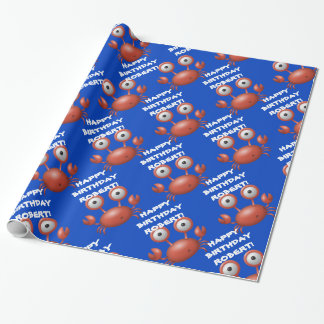 Cute Personalized Blue and Red Lobster Under Sea Wrapping Paper