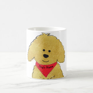 Cute Personalized Cartoon Goldendoodle Puppy Coffee Mug