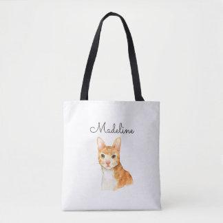 Cute Personalized Cat Tote Bag