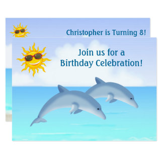 Cute Personalized Dolphins Beach Birthday Invite