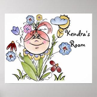 Cute Personalized Flower Garden Fairy Poster