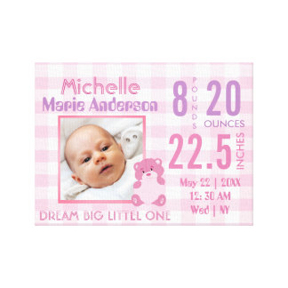 Cute personalized girly birth stat with photo canvas print