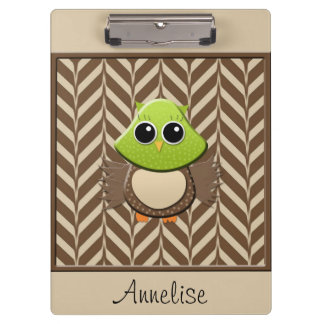 Cute Personalized Green Owl on Chevron Clipboard