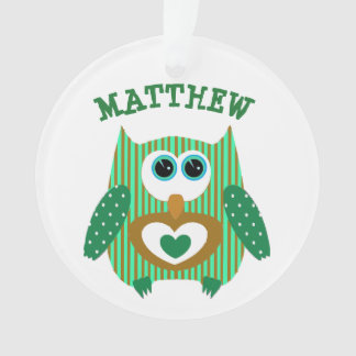 Cute Personalized Green Owl with Name Keepsake Ornament