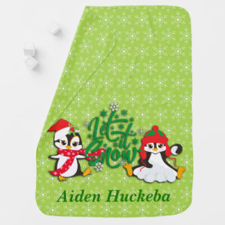 Cute Personalized Holiday Penguins Baby Blanket