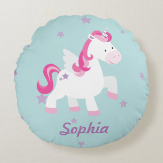Cute Personalized Magical Unicorn Round Pillow Round Cushion