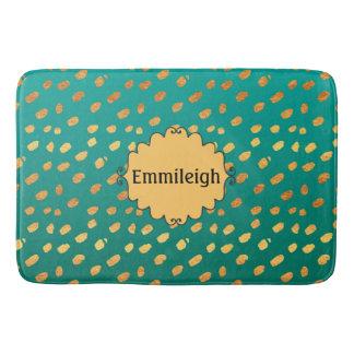 Cute Personalized Monogram Green and Gold Confetti Bath Mat