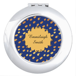 Cute Personalized Navy Blue and Gold Confetti Compact Mirrors