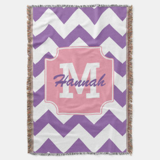 Cute Personalized Neon Pink Purple Chevron Print Throw Blanket