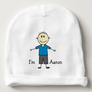 Cute Personalized New Baby Boy Stick Figure Baby Beanie