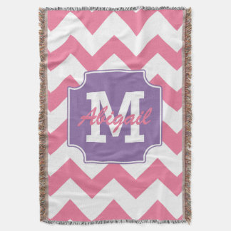 Cute Personalized Pink and Purple Chevron Print Throw Blanket