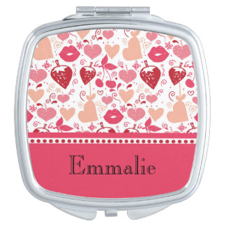 Cute Personalized Pink and Red Hearts and Lips Makeup Mirrors