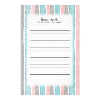 Cute Personalized Pink Gray Blue White Watercolor Stationery